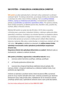 SM SYSTÉM – STABILIZÁCIA A MOBILIZÁCIA CHRBTICE