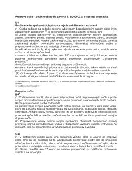 Preprava osôb - povinnosti podľa zákona č