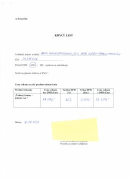 Cenová ponuka - BAFFI - kritéria
