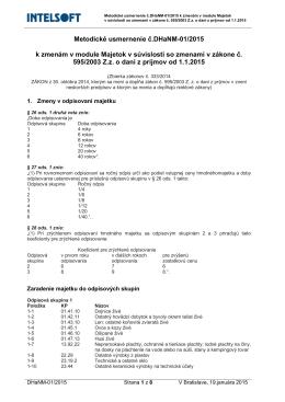 Metodické usmernenie č.DHaNM-01/2015 k zmenám v