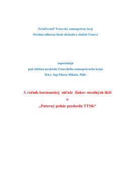 Propozície a pozvánka na 3.roč.barman.súťaže