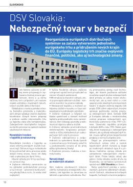 DSV Slovakia: nebezpečný tovar v bezpečí