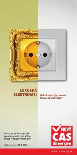 Leták Nový Čas Energie, platný od 15. februára 2014