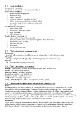 D 1 Kontraindikácie D 2 Pôsobenie masáže na organizmus D 3