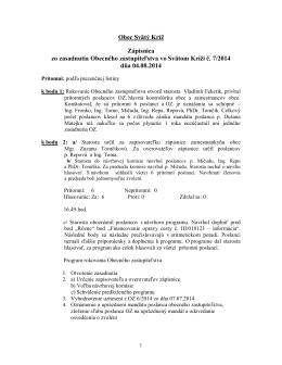 Zápisnica OZ 7/2014 zo dňa 04.08.2014