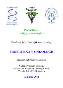 PROBIOTIKÁ V ONKOLÓGII - Ústav experimentálnej onkológie
