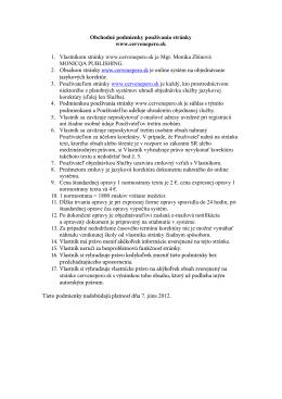 Obchodné podmienky používania stránky www.cervenepero.sk 1
