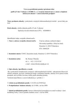 Výzva na predloženie ponuky (prieskum trhu) podľa § 9 ods. 9