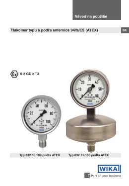 Návod na použitie Tlakomer typu 6 podľa smernice 94/9/ES