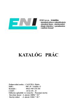 KATALÓG PRÁC