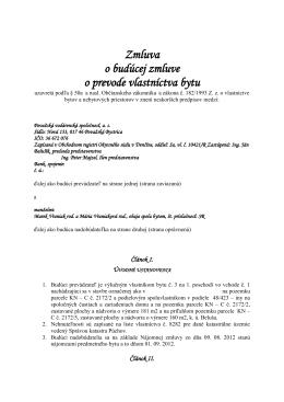 Zmluva o budúcej zmluve o prevode vlastníctva bytu