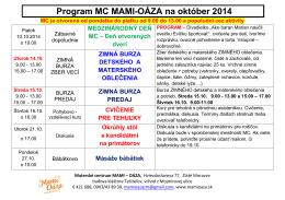 Program MC MAMI-OÁZA na október 2014