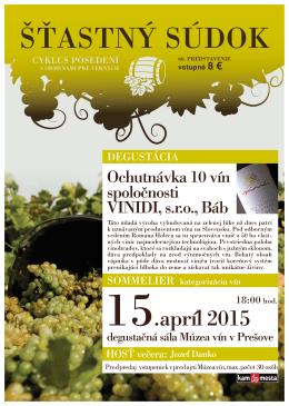 Ochutnávka 10 vín spoločnosti Winterberg, s.r.o. Skalica