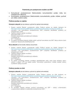 Podmienky pre poskytovanie služieb cez EKP