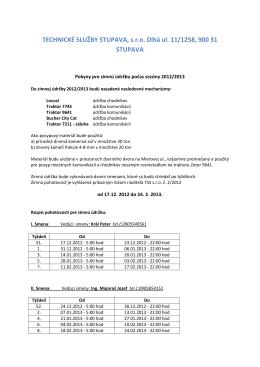 TECHNICKÉ SLUŽBY STUPAVA, s.r.o. Dlhá ul. 11/1258, 900 31