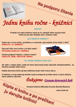 Jednu knihu ročne - Verejná knižnica Mikuláša Kováča Banská