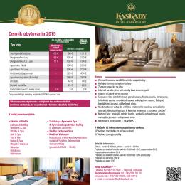 Cenník ubytovania a pobytových balíkov 2015
