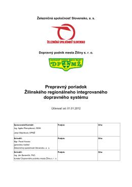Prepravný poriadok Žilinského regionálneho integrovaného