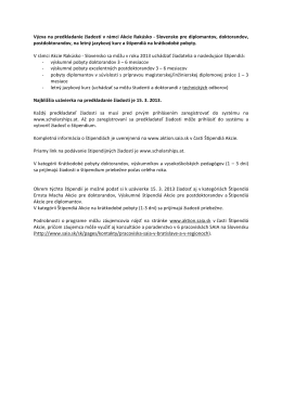 Výzva na predkladanie žiadostí v rámci Akcie Rakúsko