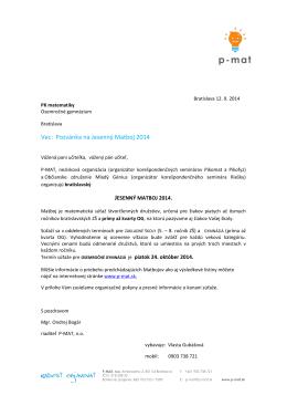Vec: Pozvánka na Jesenný Matboj 2014 - P-MAT