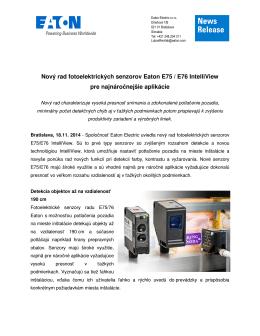 Nový rad fotoelektrických senzorov Eaton E75 / E76