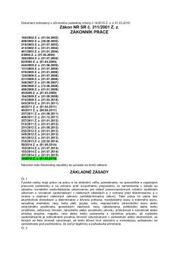 Zákon NR SR č. 311/2001 Z. z. ZÁKONNÍK PRÁCE
