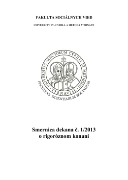 Smernica dekana č. 1/2013 o rigoróznom konaní
