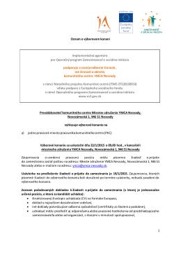 1 Oznam o výberovom konaní Implementačná agentúra pre