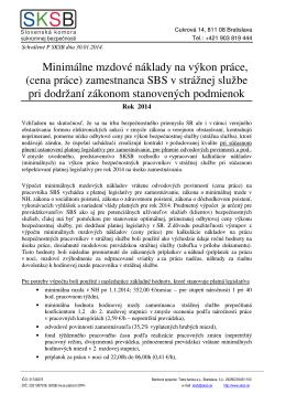 cena práce - Slovenská komora súkromnej bezpečnosti