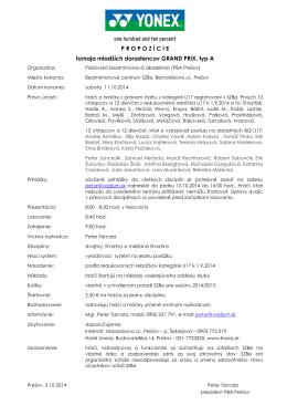 Propozície GP A U17, Prešov 11.10.2014