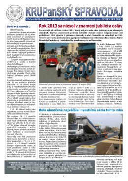 KRUPanSKÝ spravodaj - november 2013
