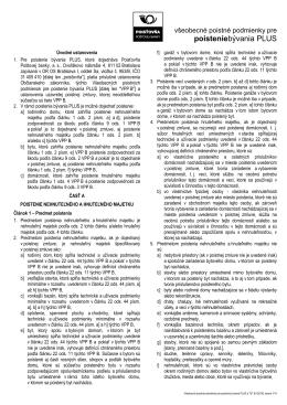 Všeobecné poistné podmienky pre poistenie bývania PLUS