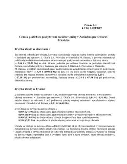 Cenník platieb za poskytované sociálne služby v - ZPS