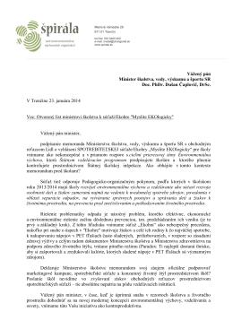 """Otvorený list ministrovi školstva k súťaži """"EKOHRA"""""""