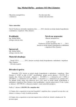 Ing. Michal Haľko – poslanec OZ Obci Zámutov