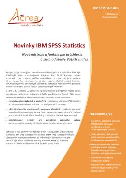 Novinky IBM SPSS Statistics