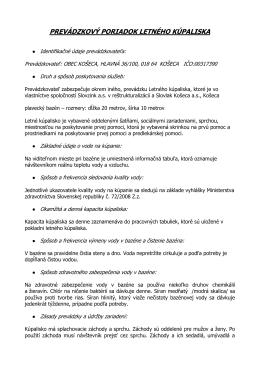 Prevádzkový poriadok kúpalisko Košeca 2013
