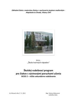 Školský vzdelávací program pre žiakov s vývinovými poruchami