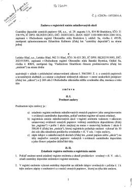 Č. j.: CDCPz-147/2014-A Zmluva o registrácii emisie