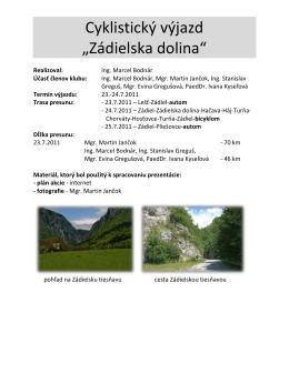 """Cyklistický výjazd """"Zádielska dolina"""""""