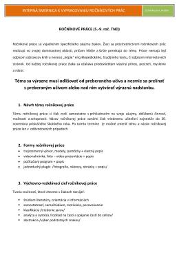 Interná smernica k vypracovaniu ročníkových prác (2