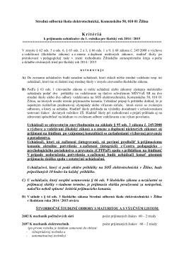 Kritéria pre prijatie uchádzačov o štúdium na šk. rok 2014/15