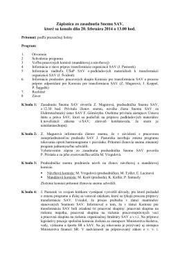 Zápisnica zo zasadnutia Snemu SAV, ktoré sa konalo dňa 17