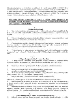 VZN č. 2/2012 o určení výšky príspevku na čiastočnú úhradu