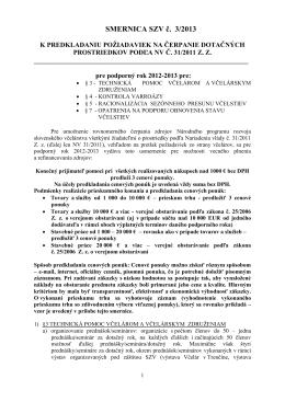 SMERNICA SZV č. 3/2013