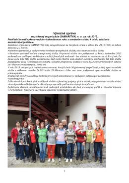 Správa o činnosti organizácie za rok 2013