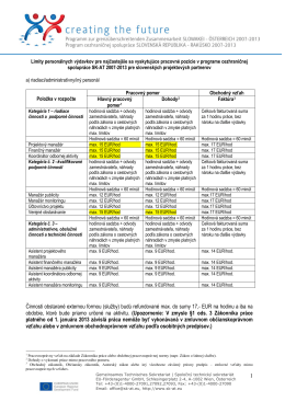 Stanovenie sadzieb pre kategóriu osobných - SK-AT 2007-2013