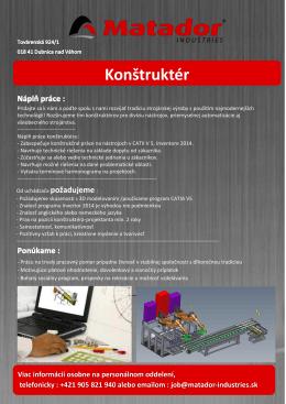 Konštruktér - MATADOR Industries