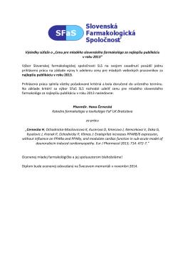 Súťaž – Cena SFaS SLS pre mladého slovenského