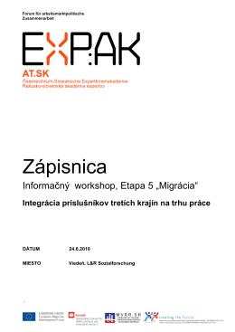 Zápisnica Informačný workshop Etapa 5 - expak